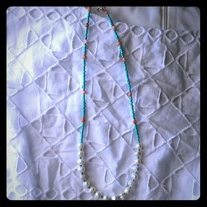 Jewelry - Pearls, pink coral and turquoise